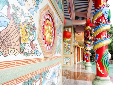 frontage: Ancient art Chinese temple frontage Editorial