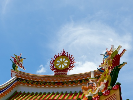 detail of the roof Chinese art temple against blue sky Stock Photo