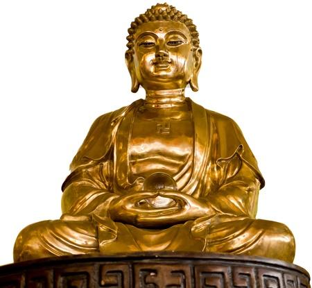 Golden Buddha statue isolated on white photo