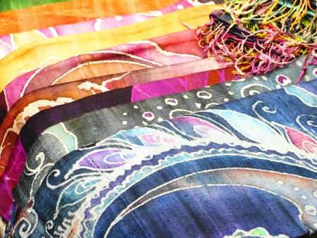 Colorful batik  are beautiful fabric produce in Thailand photo