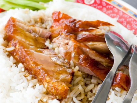 Duck and Crispy Pork over Rice with Sweet Gravy Sauce Stock Photo - 13882284