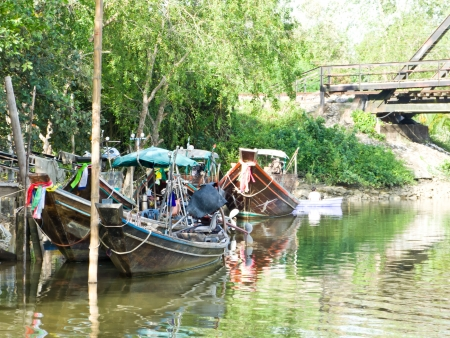 Fishing boat moored in the mangroves after fishing over the sea photo