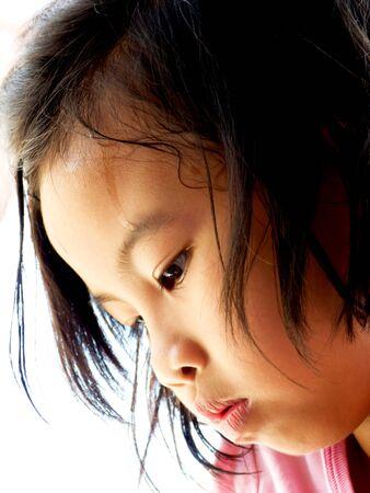 A portrait of a sad little asian girl photo