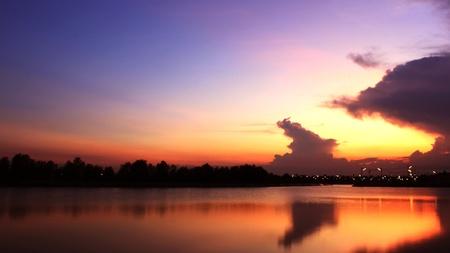 Sunset over lake are beautiful sky