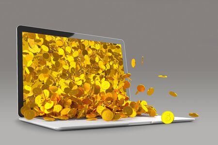 Lots of gold coins spilling out of the laptop monitor 3D illustration..