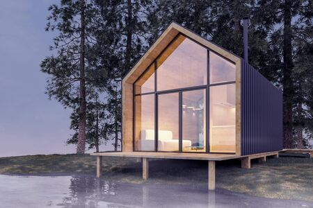 Secluded tiny house on the sandy shore of a lake with fog in a coniferous forest in cold cloudy lighting with warm light from the Windows. Stock 3D illustration.