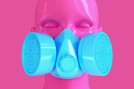 Minimalistic glamorous background with female pink shiny porcelain face and blue respirator on pink background. 3D illustration