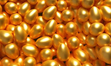 A lot of golden eggs. 3d illustration Stock Photo