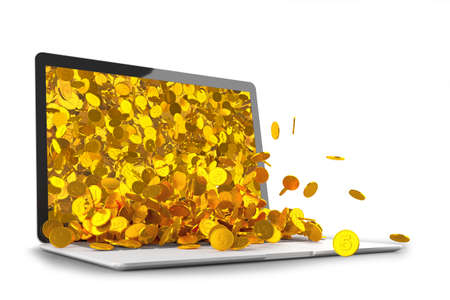 Lots of gold coins spilling out of the laptop monitor 3D illustration