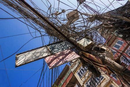 Nepal, Kathmandu -November 20, 2018: Lots of tangled wires on streets and lampposts