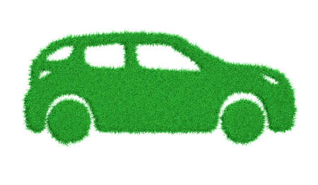 3d rendering the silhouette of a car overgrown with green grass