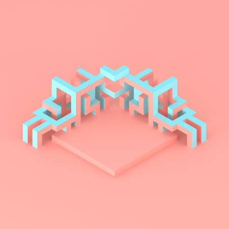 Abstract isometric arrangement of an expanding cube 3D illustration 免版税图像