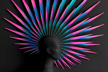Creative dark background with three-dimensional head of a young woman in profile with stylized Mohawk hairstyle. 3D illustration Zdjęcie Seryjne