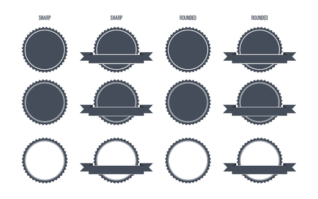 sharp: Blank Round Stamp Sharp and Rounded edges - Isolated Illustration