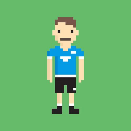 pixeled: Pixeled Football Player - Isolated Vector Illustration