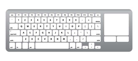 key pad: While Silver Keyboard - Isolated Vector Illustration