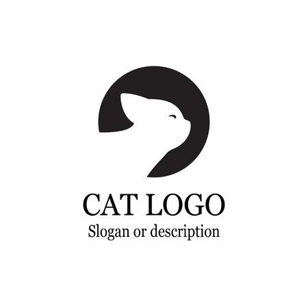 Cat Logo Black Circle - Isolated Vector Illustration