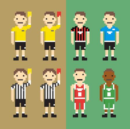 arbitros: Árbitros, jugadores de fútbol, ??jugadores de baloncesto - ilustración vectorial aislado