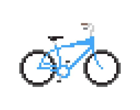 pixelated: Pixelated blue bicycle - Isolated Vector Illustration