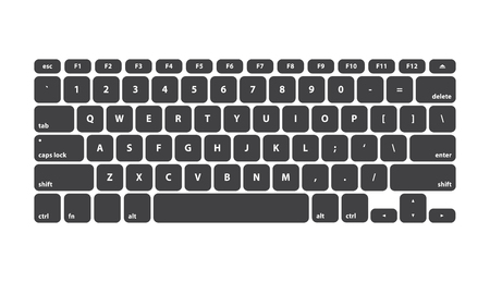 qwerty: Black Keyboard Stroke QWERTY - Isolated Vector Illustration Illustration
