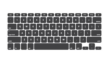 Black Keyboard Stroke QWERTY - Isolated Vector Illustration Vector Illustration