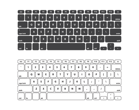 qwerty: Set Black and White Keyboard Stroke QWERTY - Isolated Vector Illustration
