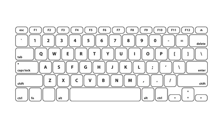 qwerty: White Keyboard Stroke QWERTY - Isolated Vector Illustration