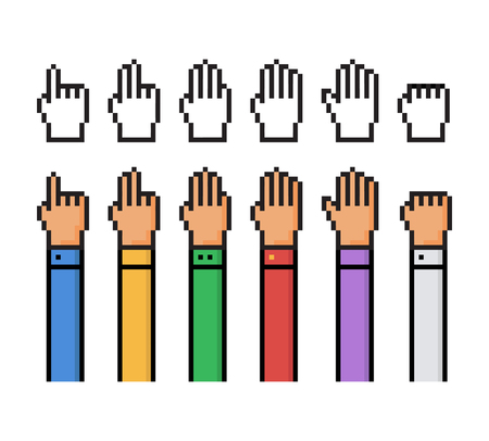 5 0: Set of pixel hand count from 0 to 5 - isolated vector illustration