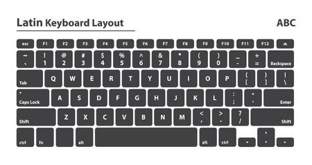 alphabet keyboard: Latin alphabet keyboard layout set - Isolated Vector Illustration