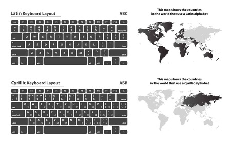 alphabet keyboard: Cyrillic and Latin alphabet keyboard layout set with the countries map Illustration