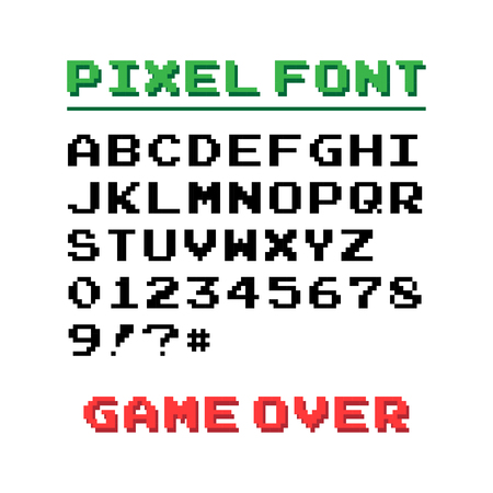 the game is over: Pixel font with 39 symbols and text game over - isolated vector illustration