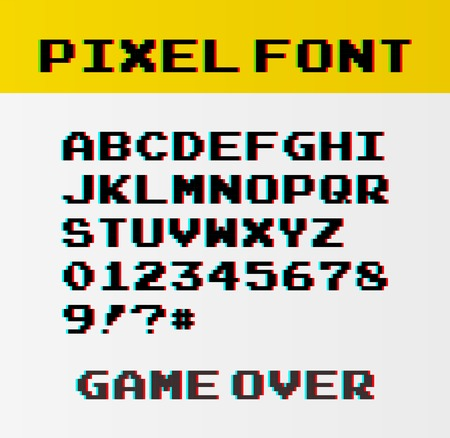Pixel font with 39 symbols and text game over - isolated vector illustration
