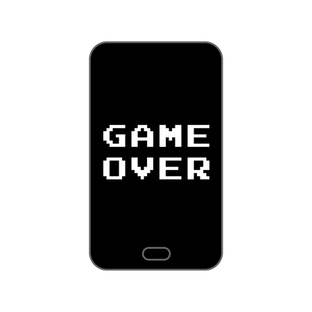 finally: Game over end screen on smartphone - isolated vector illustration Illustration
