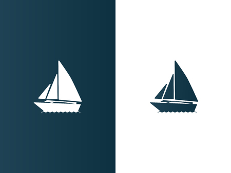 simple logo: Business logo yacht floating on the waves modern simple - isolated vector