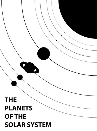 saturn rings: Poster of the planets of the solar system - isolated vector illustration