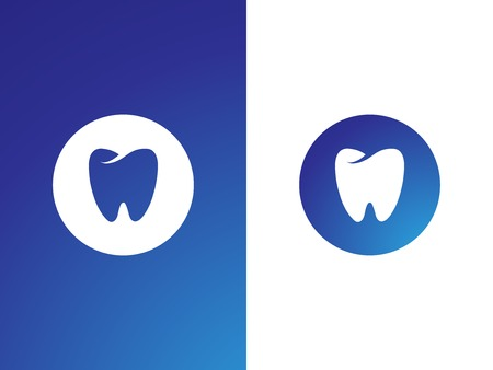 Dentist logo set for company on while, blue background - isolated vector Ilustração