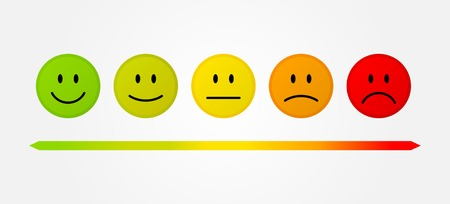 negative: Set 5 faces scale - smile neutral sad - isolated vector illustration