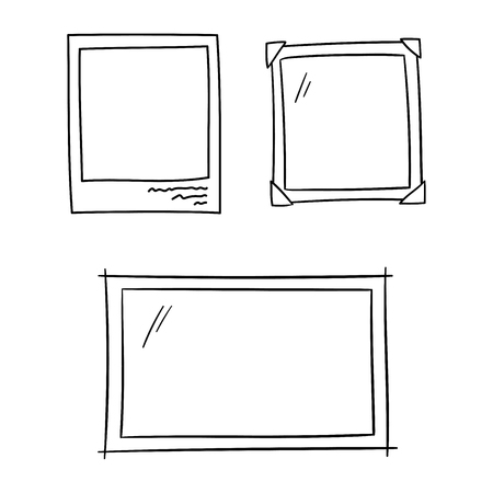 Photo frames for album memory doodle set - isolated vector illustration