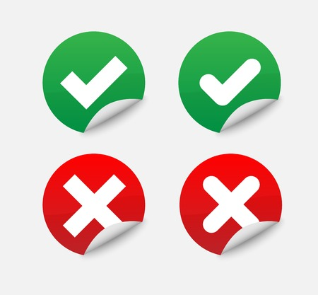 Green Check Mark and Red Cross in two variants (square and rounded corners) - Isolated Illustration