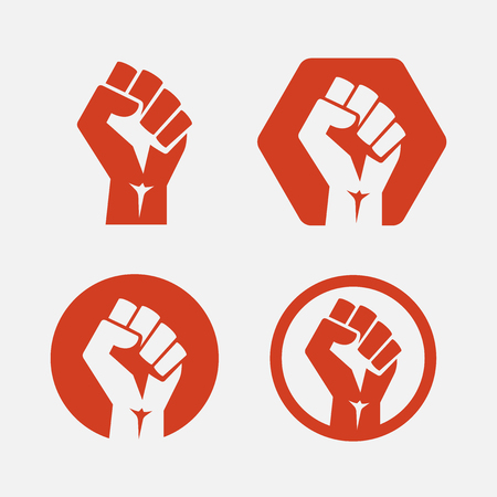 isolated vector illustration. Raised fist set red logo icon Illustration