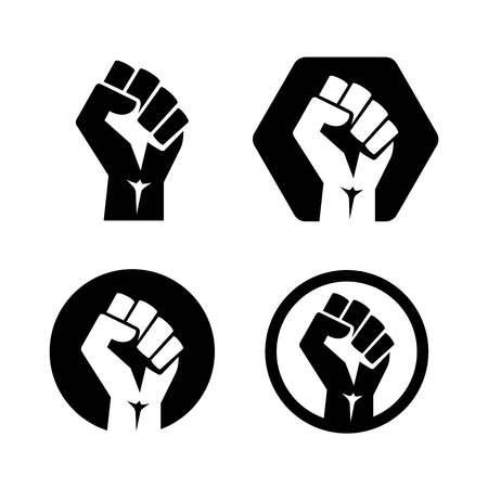 isolated vector illustration. Raised fist set black logo icon Ilustrace