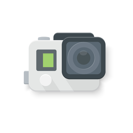 isolated vector illustration. Digital video camera for action sport