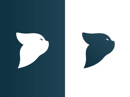 Isolated Vector Illustration. Cat Logos set modern minimalistic backgound