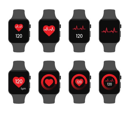 isolated vector illustration. Heart beat rate smart watch health care sport Ilustração