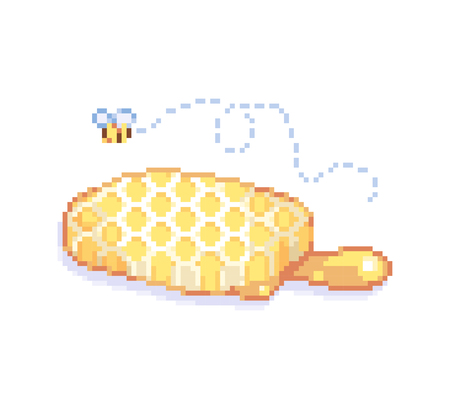 Isolated vector illustration Pixelated cute bee honeycomb 8 bit