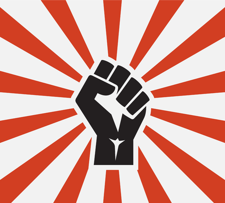 broadsheet: isolated vector illustration Raised fist black logo icon poster