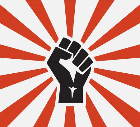 isolated vector illustration Raised fist black logo icon poster