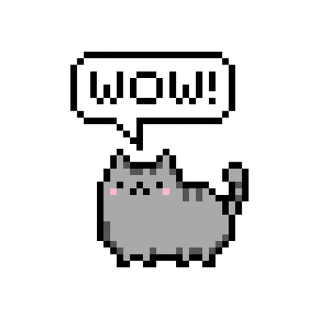 Cute kitten domestic pet pixel saying wow - isolated vector
