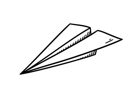 Simple paper plane doodle style - isolated vector illustration Ilustração