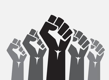Raised five fists set background - isolated vector illustration Illustration